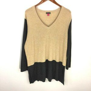Vince Camuto Colorblock Waffle Knit V-neck Sweater